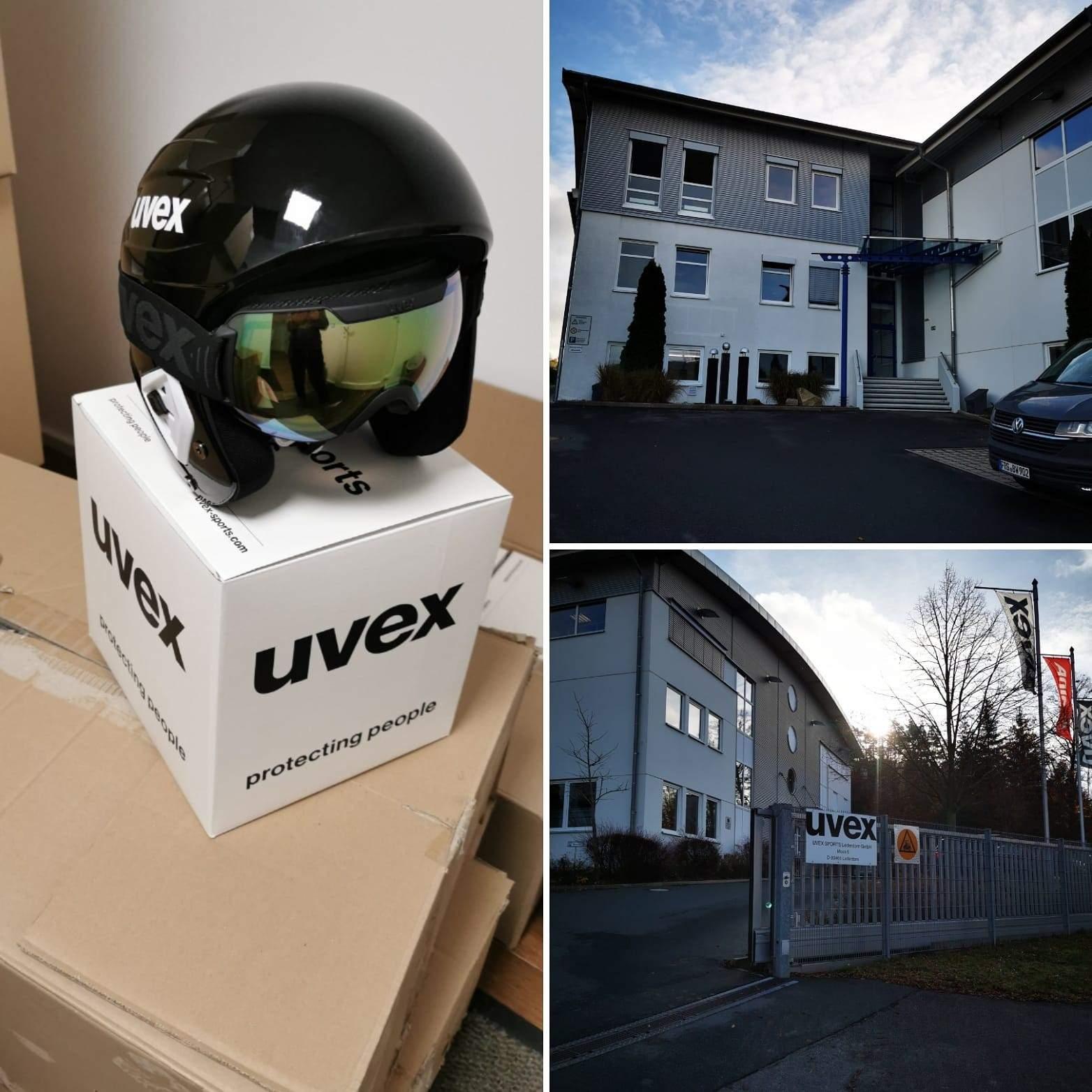 Uvex Sports Übergabe Helme und Brillen für Alpine Athleten